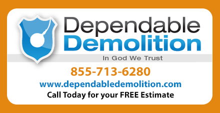 Call Toll Free 855-713-6280 Dependable Demolition